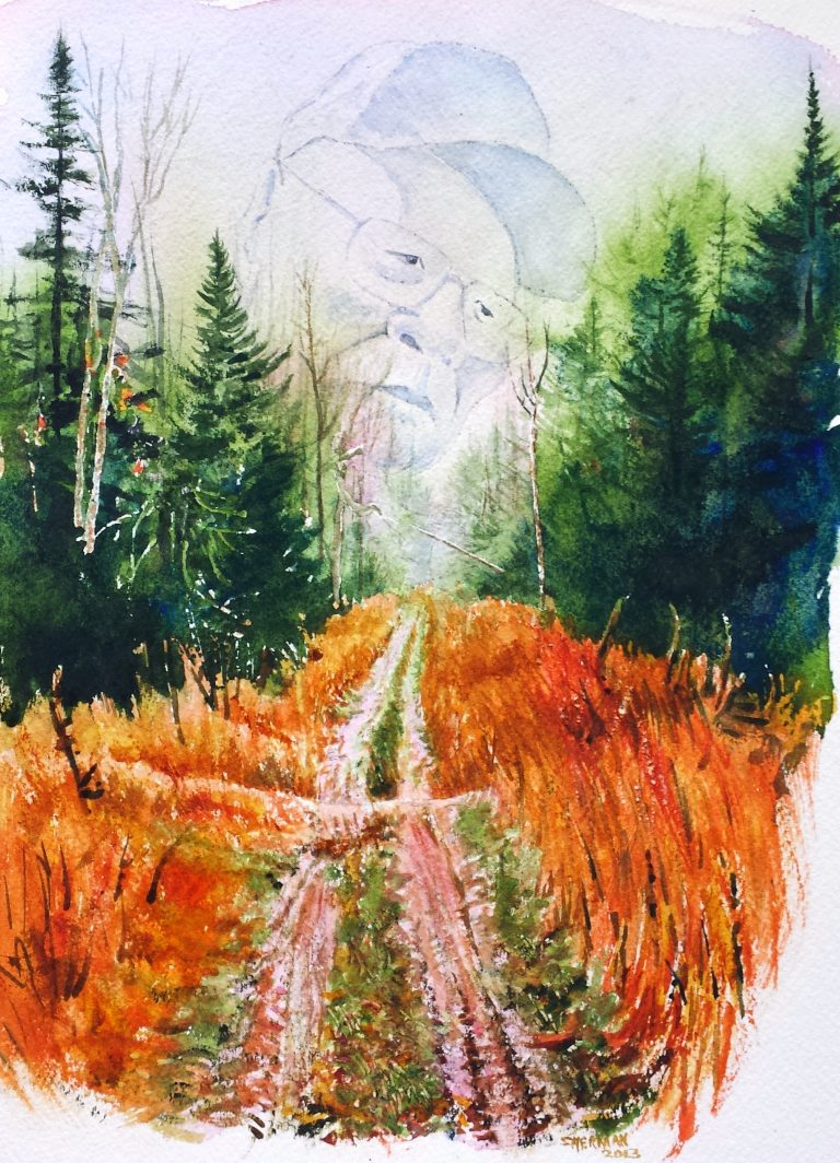 My watercolor of a trail in the woods, and of my Native American Uncle. The art illustrates the story about him.