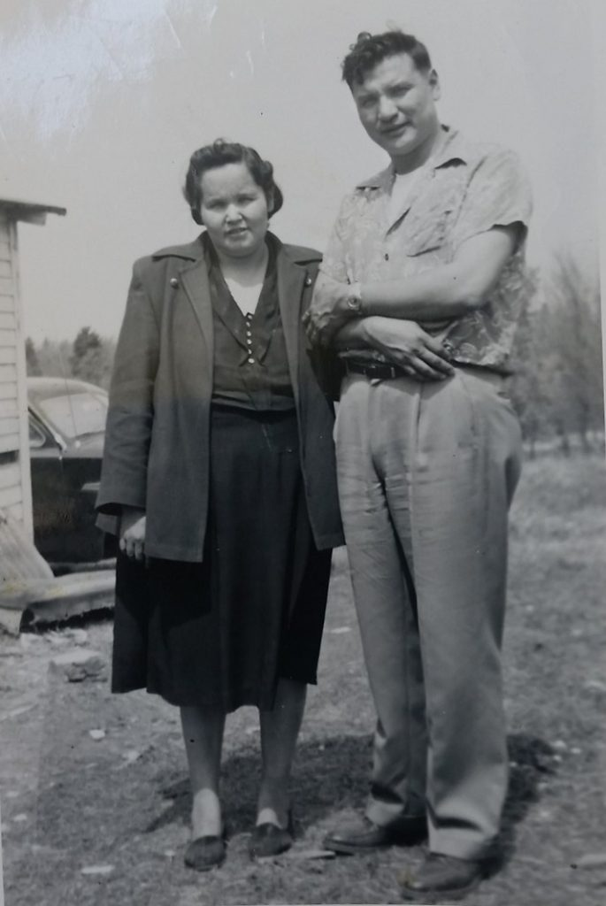 black and white photo of two Native people