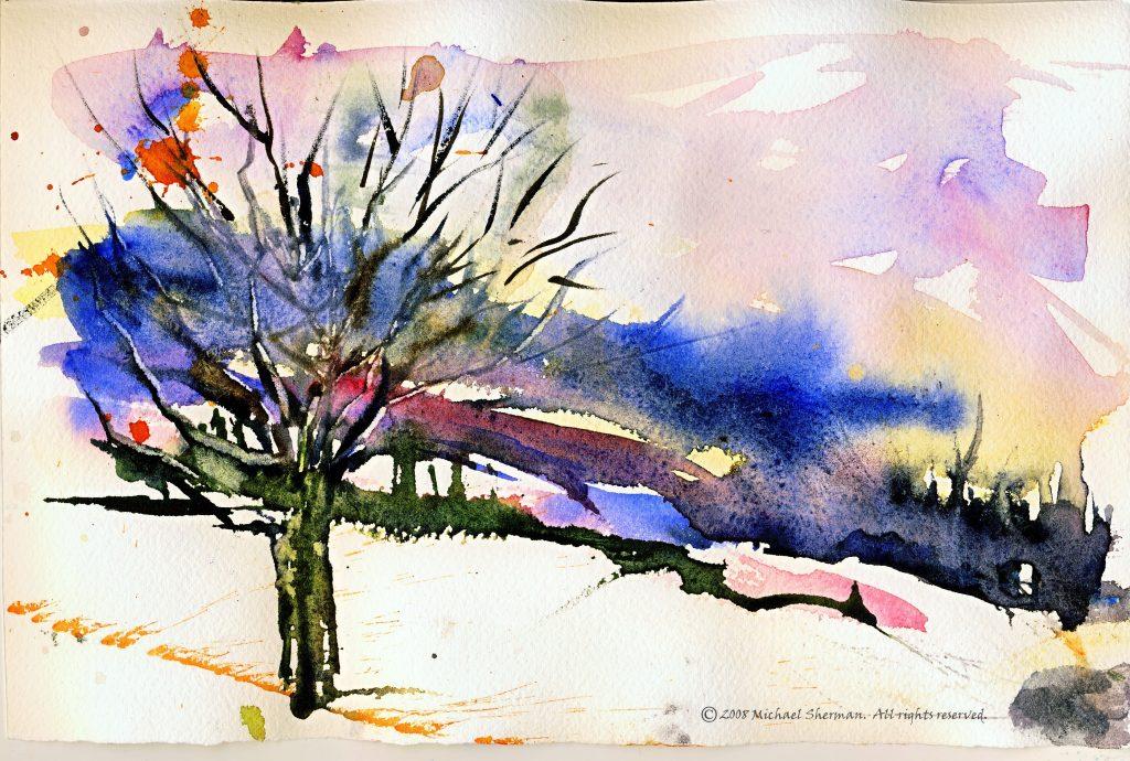Quick, loose watercolor landscape in snow
