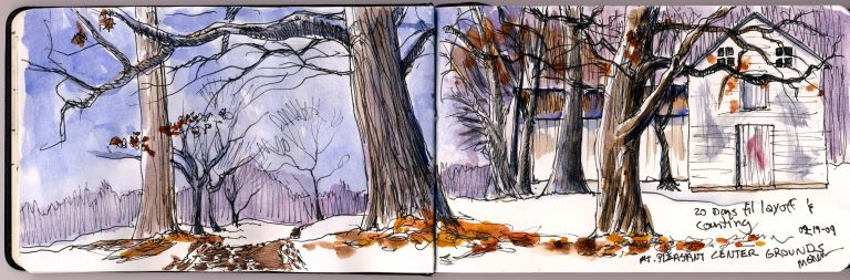 Two Page Watercolor Sketch Illustrating the Mt Pleasant Center