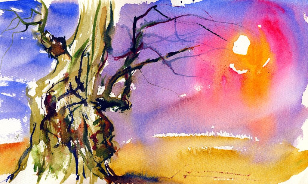 colorful sunset painting with a weeping willow