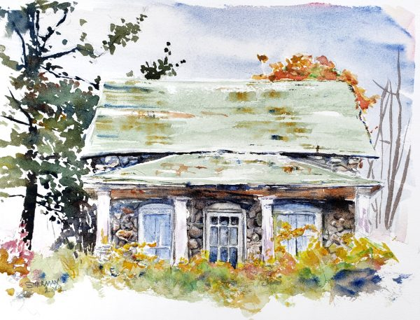 a painting of the Broomfield Stone House