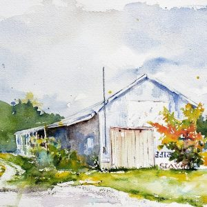 A reproduction of a watercolor painting of a railroad shed