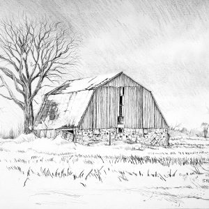 A drawing titled Freezing Rain Barn
