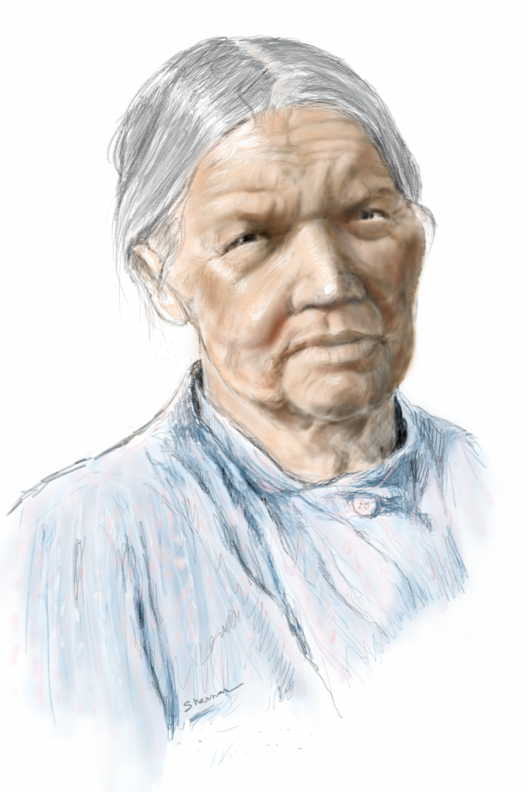 digital portrait of Native American Elder