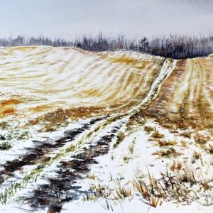 photo of an artwork depicting a farm field road used by deerhunters