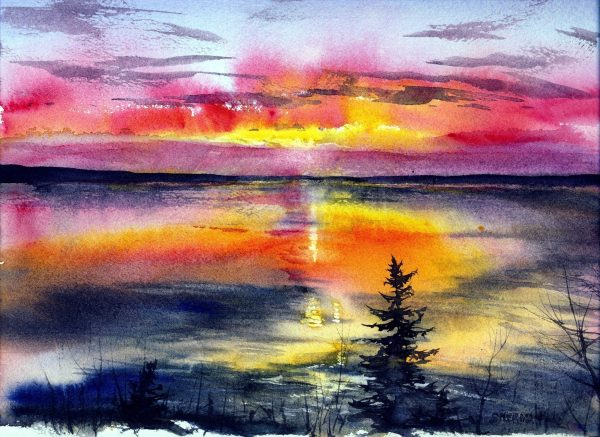image of a painting titled Keweenaw Bay Sunset