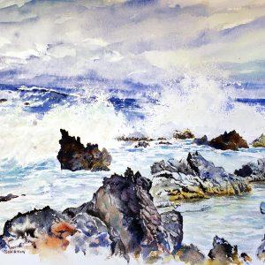 watercolor of breaking surf on lava rocks