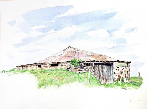 reproduction of a barn foundation painting used to sell the original artwork