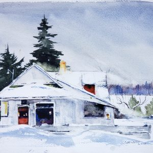 reproduction of a watercolor of a store in winter used to sell the original artwork