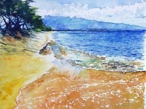 A painting of Sugar Beach, Kihei, Maui