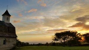 Hawaiian Church and sunset