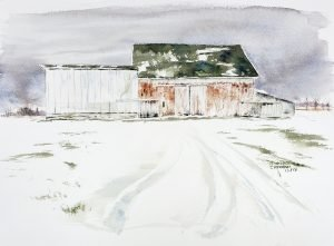 Painting Winter Grays is the title of a painting depicting a barn in winter