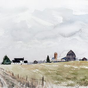 a watercolor painting titled A Quiet Place-Amish Fields of Frost