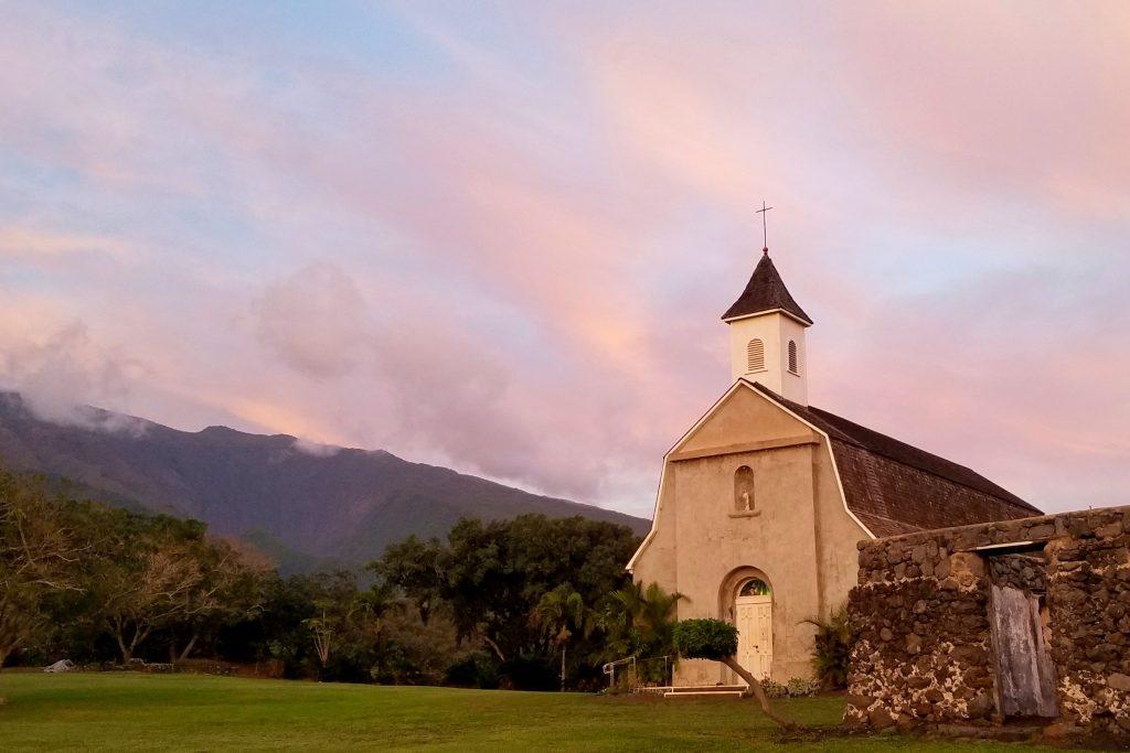 Maui Church with Mountains